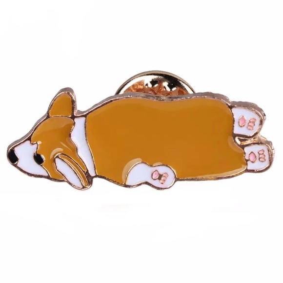 Accessories - Tired Splooting Corgi Laying Dog Enamel Pin